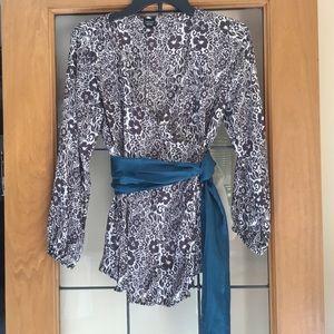 Maternity silk wrap blouse
